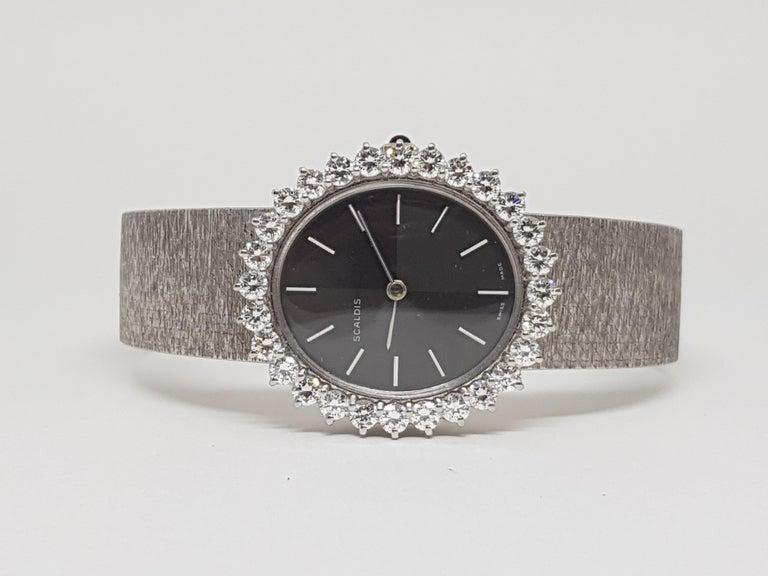 Women's Scaldis 18 Karat White Gold Diamonds Vintage Ladies Watch For Sale