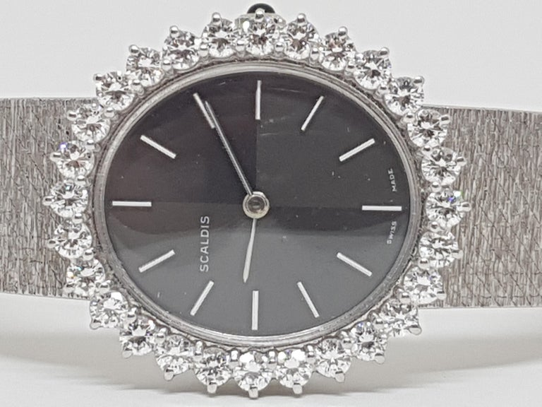 Scaldis 18 Karat White Gold Diamonds Vintage Ladies Watch For Sale 1