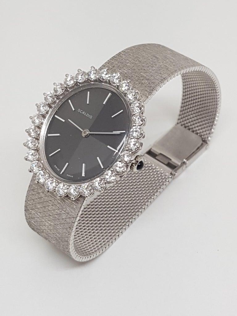 Scaldis 18 Karat White Gold Diamonds Vintage Ladies Watch For Sale 4