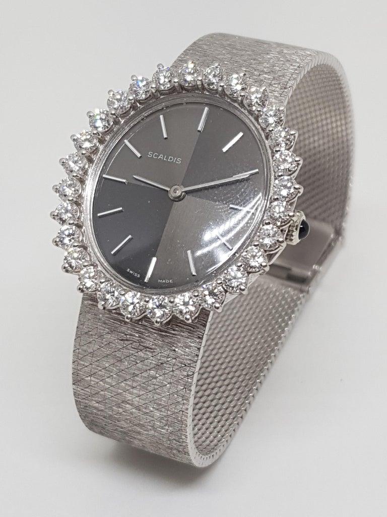 Scaldis 18 Karat White Gold Diamonds Vintage Ladies Watch For Sale 5