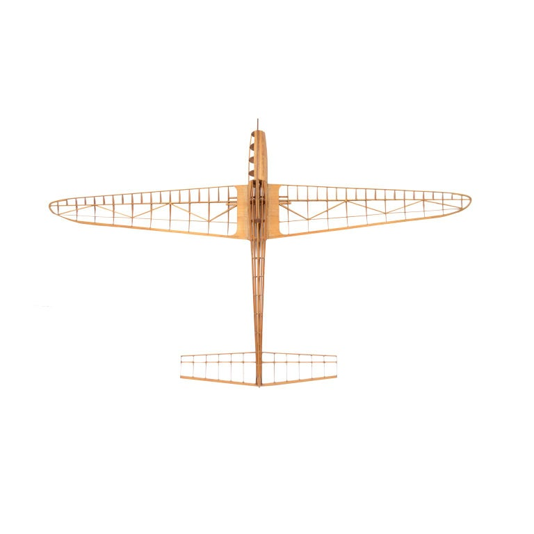 Scale model of the structure of a passenger airplane, made in France in the 1950s. Quotas are written on the various parts of the wings. Made of balsa wood, light but very resistant wood used to build airplanes model. Good condition. Measures: Width