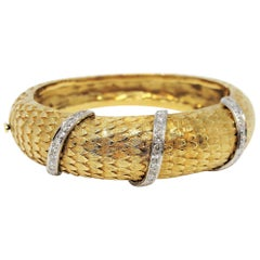 Scaled Hinged Cuff Bracelet in 18 Karat Yellow Gold with Pave Diamond Wraps