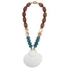 Scallop Shell Pendant Necklace With Stone & Wood Beads
