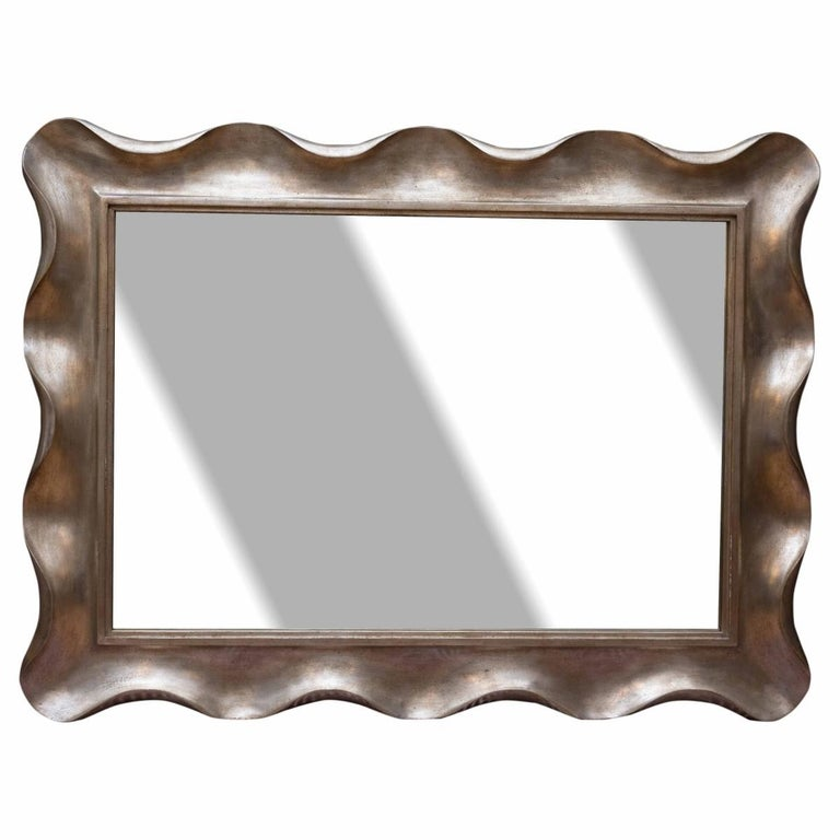 Art Deco Scallop Silver Leaf Venetian Wall Mirror by Nancy Corzine For Sale
