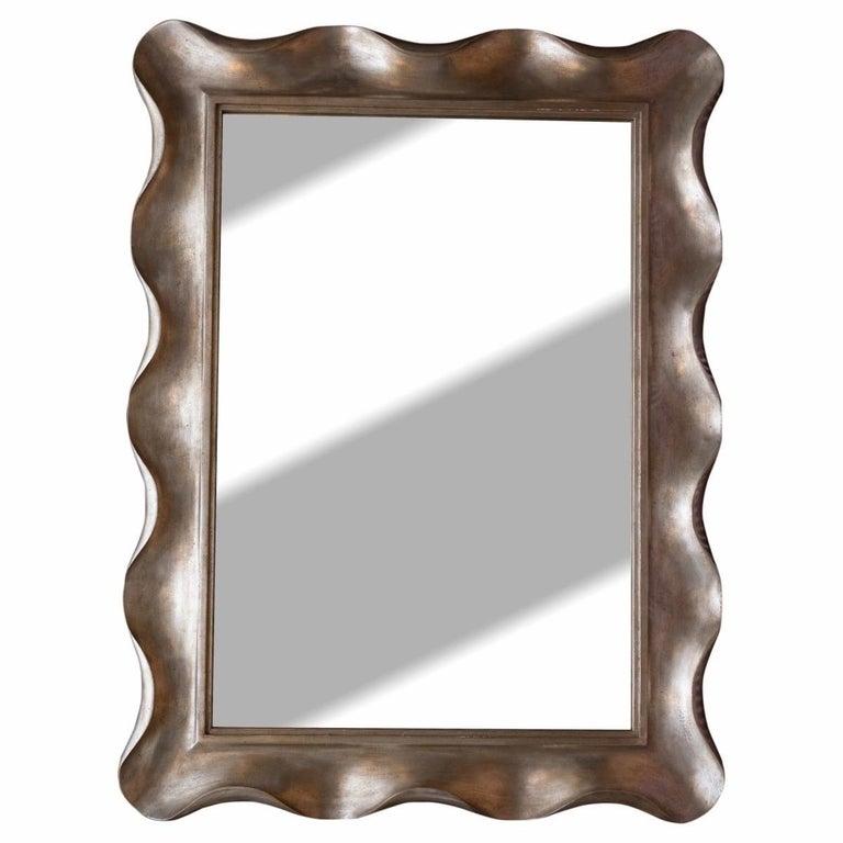 American Scallop Silver Leaf Venetian Wall Mirror by Nancy Corzine For Sale