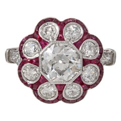 Scalloped 1.07 Carat Old European Cut Diamond and Ruby Flower Ring