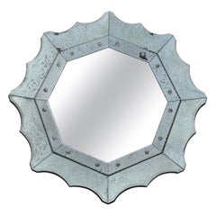 Scalloped Antiqued Glass Venetian Style Mirror