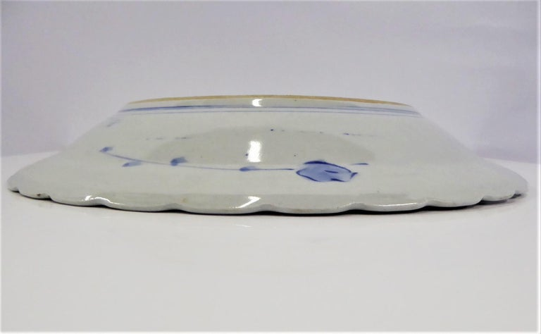 Early 20th Century Scalloped Ceramic Japanese Charger Bamboo, Pine and Plum Blossoms, Shōchikubai For Sale