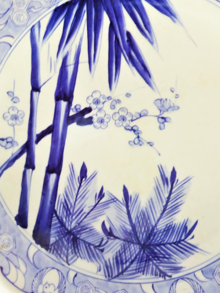 Scalloped Ceramic Japanese Charger Bamboo, Pine and Plum Blossoms, Shōchikubai For Sale 2