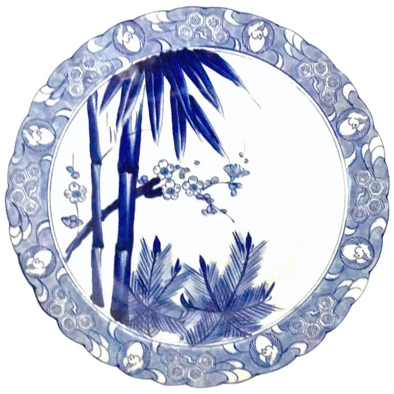 Scalloped Ceramic Japanese Charger Bamboo, Pine and Plum Blossoms, Shōchikubai For Sale