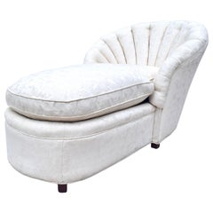 Scalloped Channel Back Clamshell Form Chaise Lounge