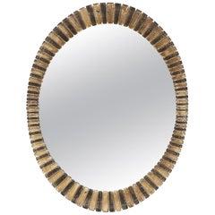 Scalloped Edge Oval Mid-Century Modern Mirror