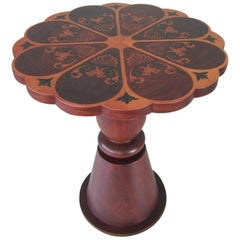 Scalloped/G Lamp Table with Inlaid Top and Turned Column in Matt Mahogany