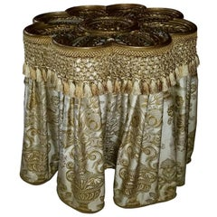 Scalloped Gold Painted Metal Pedestal Table with a Silk Skirt, 20th Century