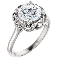 Scalloped Halo Diamond Accented GIA Certified Round Brilliant Engagement Ring