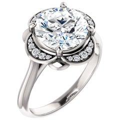 Scalloped Halo Round Brilliant GIA Diamond Engagement Ring 14 Karat White Gold