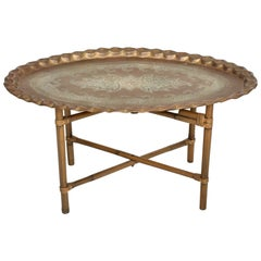 Scalloped Indian Brass & Bamboo Oval Coffee Table Hollywood Regency Baker 1960s