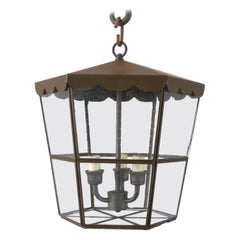 Scalloped Iron & Glass Pendant
