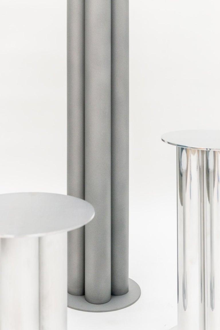Modern Scalloped Large TOTEM or Pedestal in Polished, Brushed, or Sandblasted Aluminum For Sale