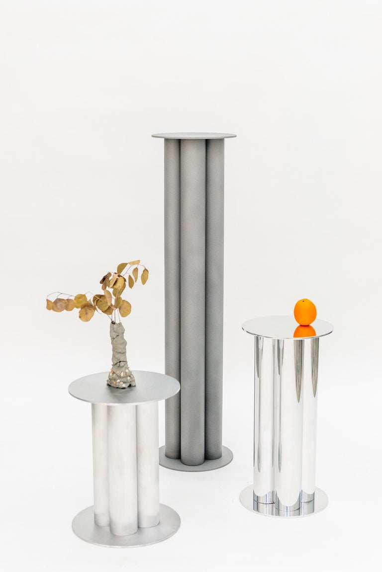 Scalloped Large TOTEM or Pedestal in Polished, Brushed, or Sandblasted Aluminum In New Condition For Sale In Brooklyn, NY