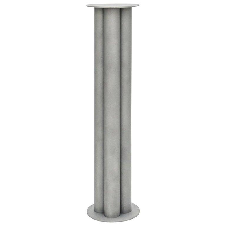 Scalloped Large TOTEM or Pedestal in Polished, Brushed, or Sandblasted Aluminum For Sale