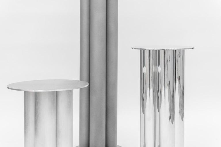 American Scalloped Medium TOTEM or Pedestal in Polished, Brushed, or Sandblasted Aluminum For Sale