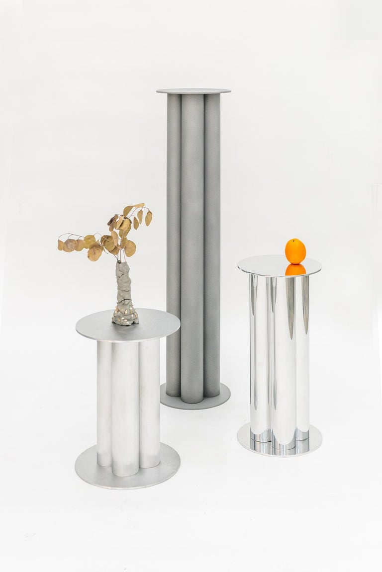 Contemporary Scalloped Medium TOTEM or Pedestal in Polished, Brushed, or Sandblasted Aluminum For Sale