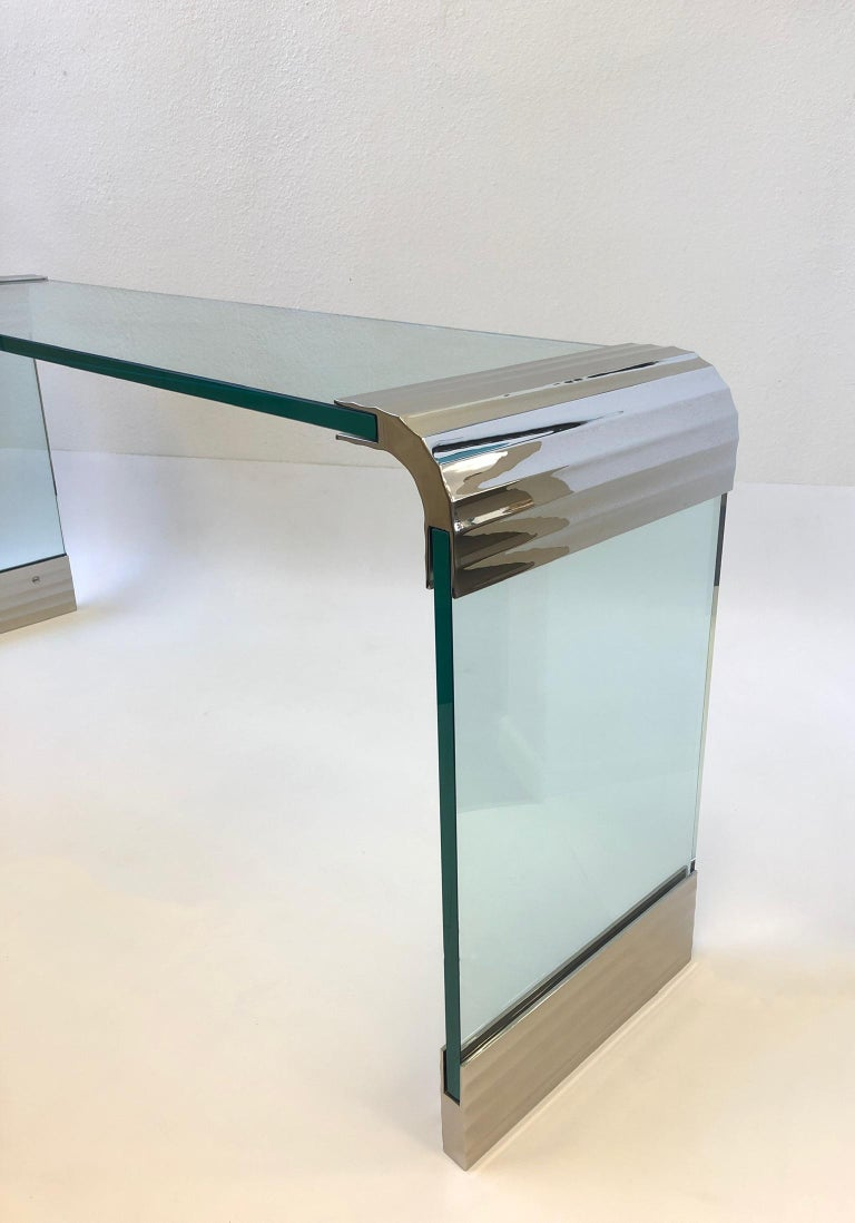 Modern Scalloped Nickel and Glass Waterfall Console Table by Leon Rosen for Pace For Sale