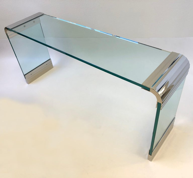 American Scalloped Nickel and Glass Waterfall Console Table by Leon Rosen for Pace For Sale