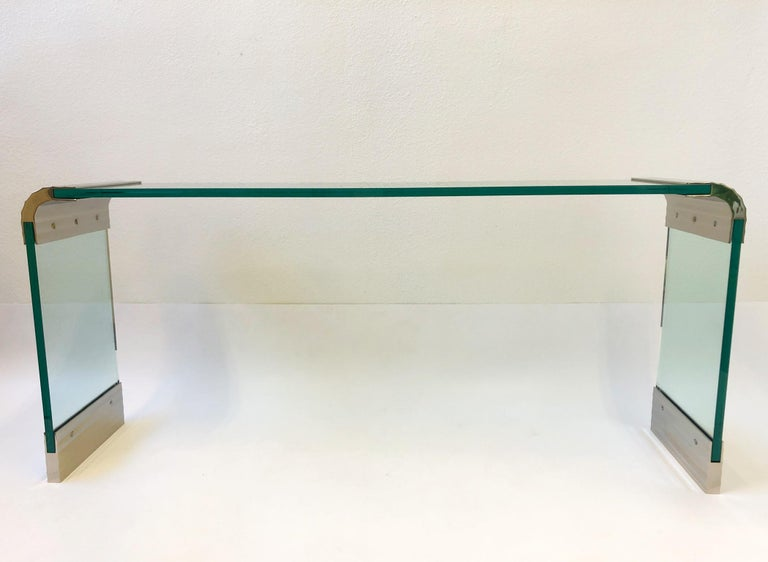 Late 20th Century Scalloped Nickel and Glass Waterfall Console Table by Leon Rosen for Pace For Sale