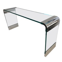 Scalloped Nickel and Glass Waterfall Console Table by Leon Rosen for Pace