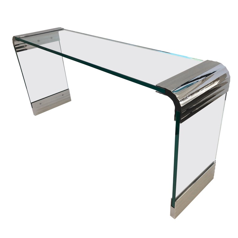 Scalloped Nickel and Glass Waterfall Console Table by Leon Rosen for Pace For Sale