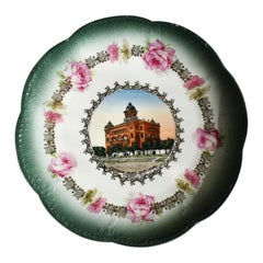 Scalloped Round Decorative Souvenir Plate in Emerald from Kingfisher Oklahoma