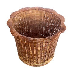 Scalloped Woven Rattan and Wicker Basket Planter, 1970s