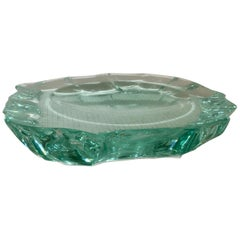 'Scalpellato' Glass Dish by Pietro Chiesa for Fontana Arte, Italy, circa 1935