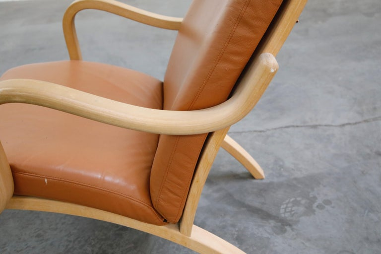 Scandinavian Bentwood Leather Lounge Chairs and Ottoman, circa 1970s For Sale 4