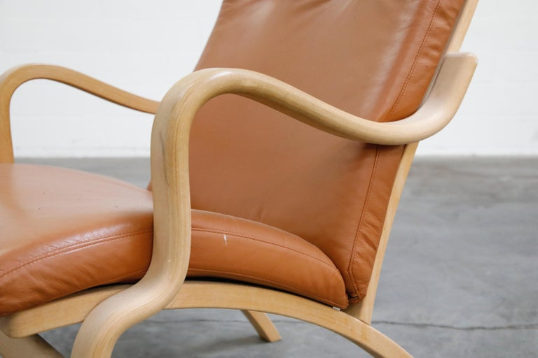 Scandinavian Bentwood Leather Lounge Chairs and Ottoman, circa 1970s For Sale 6