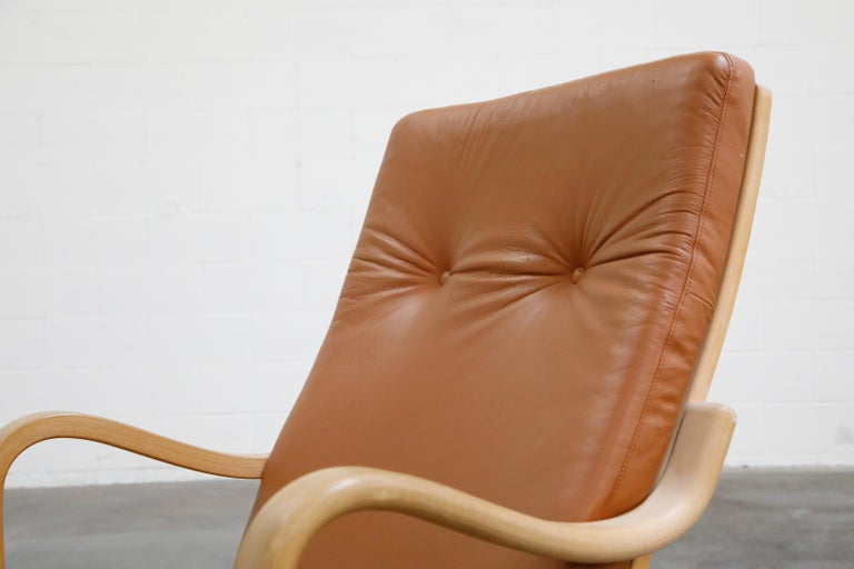 Scandinavian Bentwood Leather Lounge Chairs and Ottoman, circa 1970s For Sale 7