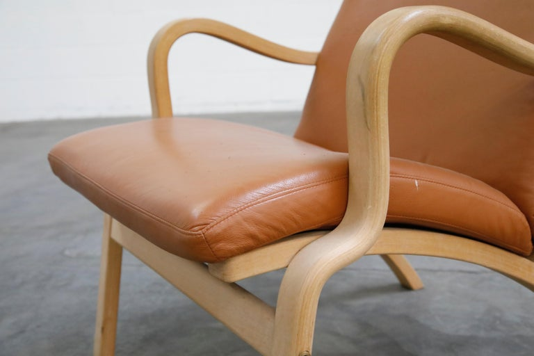 Scandinavian Bentwood Leather Lounge Chairs and Ottoman, circa 1970s For Sale 8
