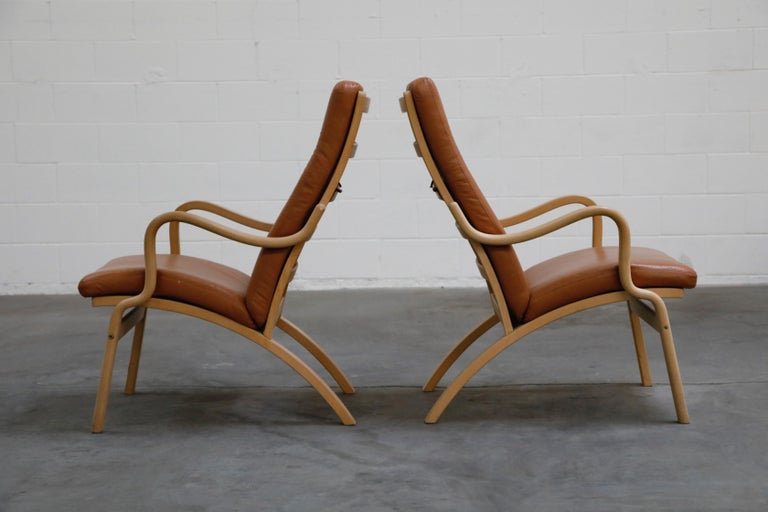 Scandinavian Bentwood Leather Lounge Chairs and Ottoman, circa 1970s In Good Condition For Sale In Los Angeles, CA