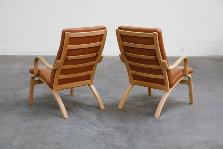 Late 20th Century Scandinavian Bentwood Leather Lounge Chairs and Ottoman, circa 1970s For Sale