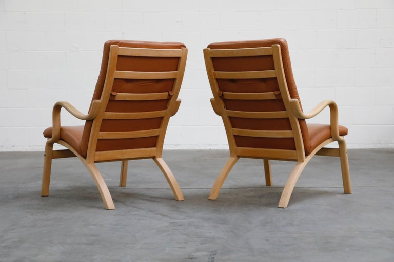 Scandinavian Bentwood Leather Lounge Chairs and Ottoman, circa 1970s For Sale 1