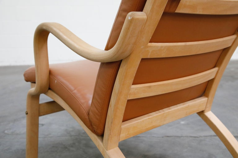 Scandinavian Bentwood Leather Lounge Chairs and Ottoman, circa 1970s For Sale 2