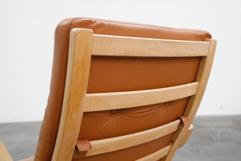 Scandinavian Bentwood Leather Lounge Chairs and Ottoman, circa 1970s For Sale 3