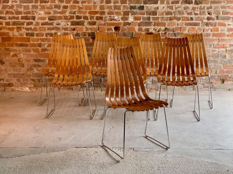 Scandia Dining Chairs Set of Eight by Hans Brattrud for Hove Mobler Teak, 1970s For Sale 4