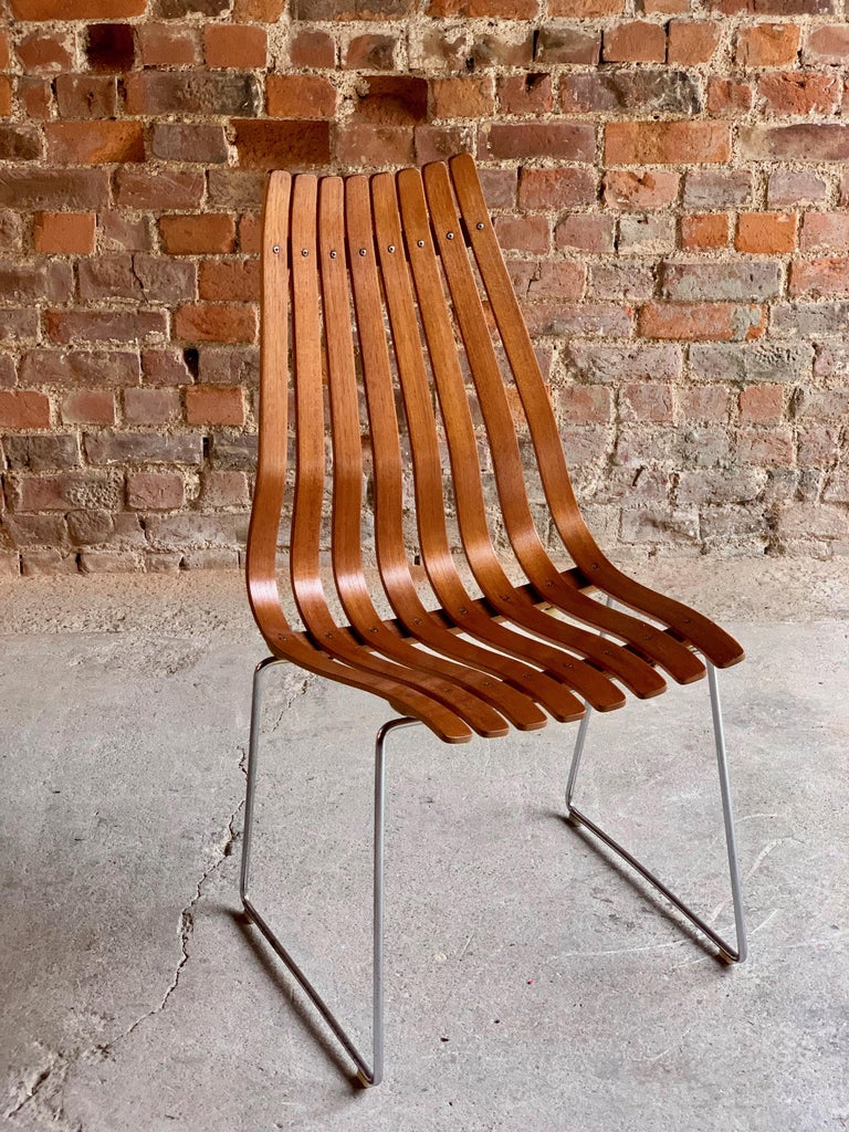 Scandia Dining Chairs Set of Eight by Hans Brattrud for Hove Mobler Teak, 1970s In Good Condition For Sale In Longdon, Tewkesbury
