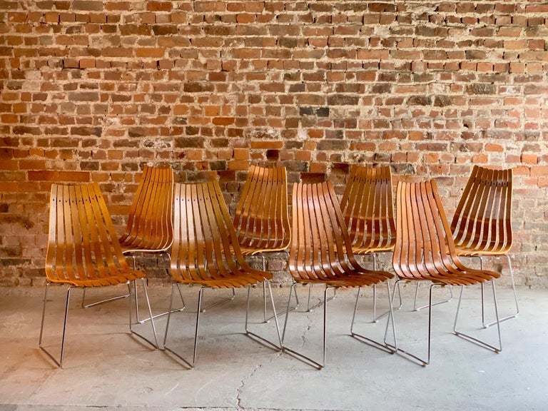 Late 20th Century Scandia Dining Chairs Set of Eight by Hans Brattrud for Hove Mobler Teak, 1970s For Sale