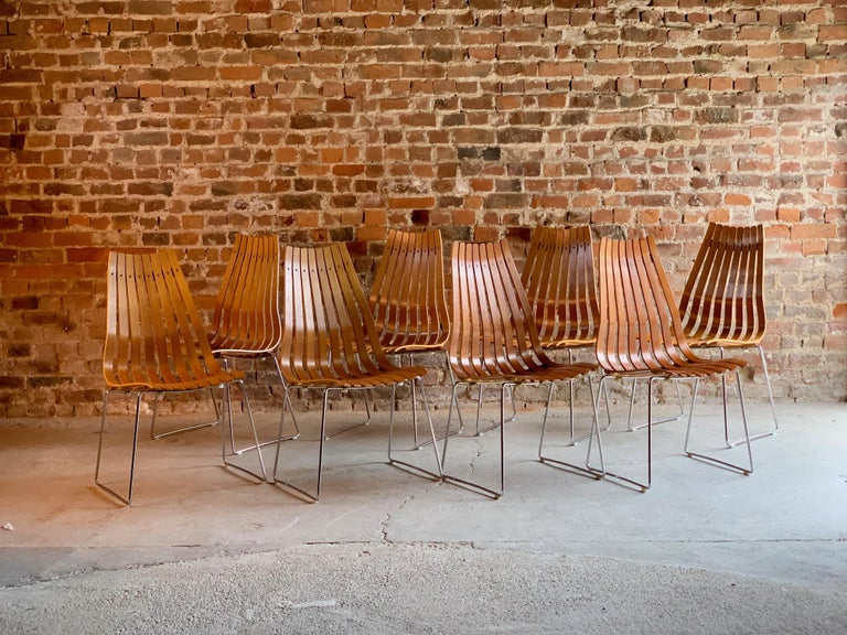 Scandia Dining Chairs Set of Eight by Hans Brattrud for Hove Mobler Teak, 1970s For Sale 1