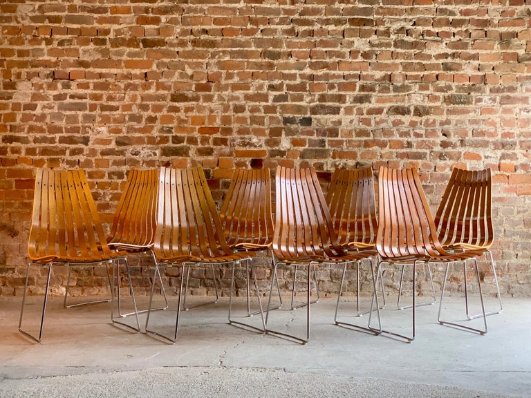 Scandia Dining Chairs Set of Eight by Hans Brattrud for Hove Mobler Teak, 1970s For Sale 2