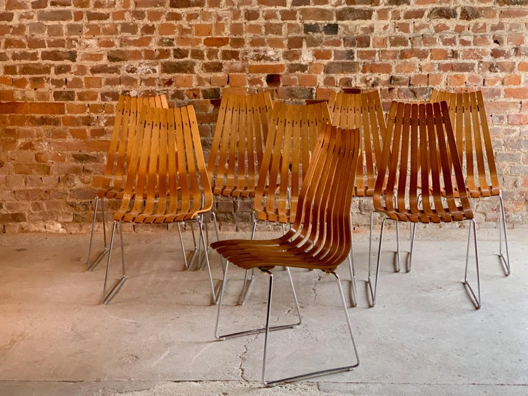Scandia Dining Chairs Set of Eight by Hans Brattrud for Hove Mobler Teak, 1970s For Sale 3